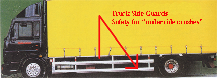 San Diego truck accident attorney PSA for bike motorcycle pedestrian safety around large commercial trucks and tractor trailers pictured is a side guard